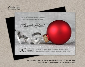 Business Christmas Thanks You Cards With Logo, Personalized Corporate Holiday Business Appriciation Cards, Printable Holiday Thank You Card