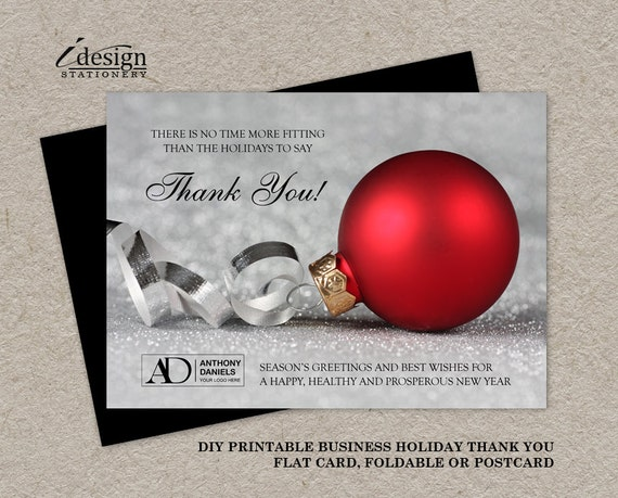 Business christmas thanks you cards with logo personalized for Business christmas cards personalized
