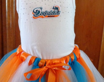 Miami Dolphins Tutu Outfit Size 6 - 6X is ready to ship