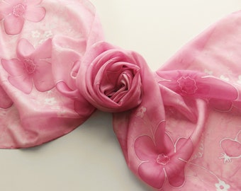 "Hand painted silk scarf. Handpainted silk scarf. Pink silk scarf with flowers. 17 x 71"", 45 x 180 cm."