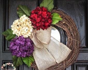 Hydrangea Wreath-Fall Wreath-Front Door Wreath-Grapevine Wreath-Everyday Wreath-Housewarming-Mothers Day Gift