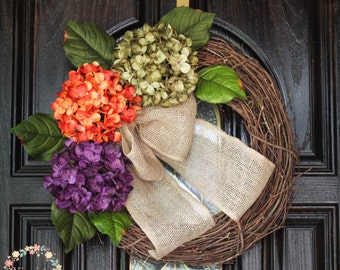 Hydrangea Wreath-Fall Wreath-Front Door Wreath-Grapevine Wreath-Everyday Wreath-Housewarming-Mothers Day Gift