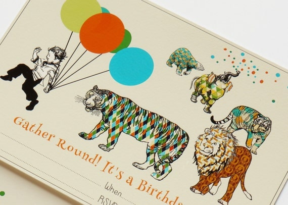 Instant Download  Animal Parade Fill-In Invitation Set