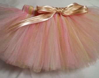 Pink White Gold Tutu, Pink and gold tutu, infant tutu, baby tutu, newborn tutu, toddler tutu, preemie tutu, wedding tutu, birthday tutu