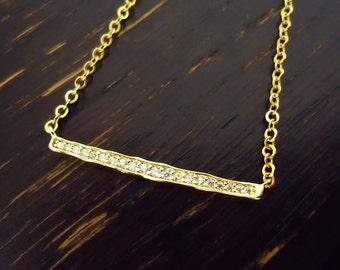 458. Gold Plated,Cubic Zirconia setting Bar Pendant Necklace, CZ setting Sideways Pendant Necklace