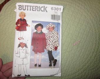 Vtg Butterrick #6301 Girls coat & beret 4-5-6 1992 Looks like all here but not sure