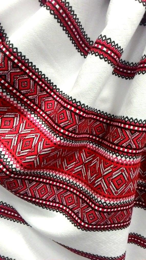 Red Fabric Boho Fabric Ethnic Home Decor Ukraine Kilim Fabric