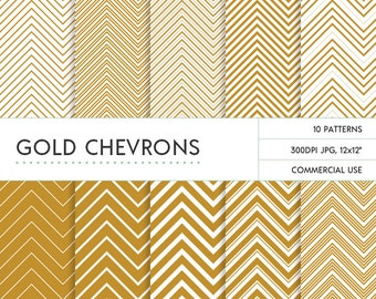 Instant Download Gold Chevron Digital Papers with Commercial Use