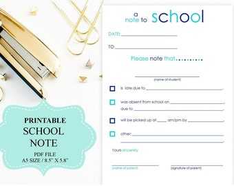 Printable School Note, A5 size, Note to School, Absentee Note to School, INSTANT DOWNLOAD