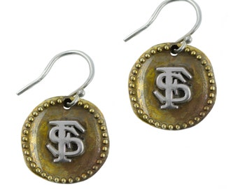 Florida State Antique Coin Earrings, Seminoles Silver Jewelry, FLS-6180