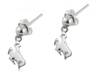 Wyoming Sterling Silver Post Dangle Earrings, Cowboys Silver Jewelry, UWY-6169