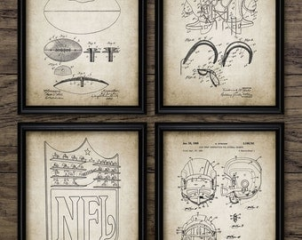 Vintage Football Patent Print - Football Blueprint Wall Art - Gift Home Decor - Mancave Wall Art Set Of 4 Prints #414 - INSTANT DOWNLOAD
