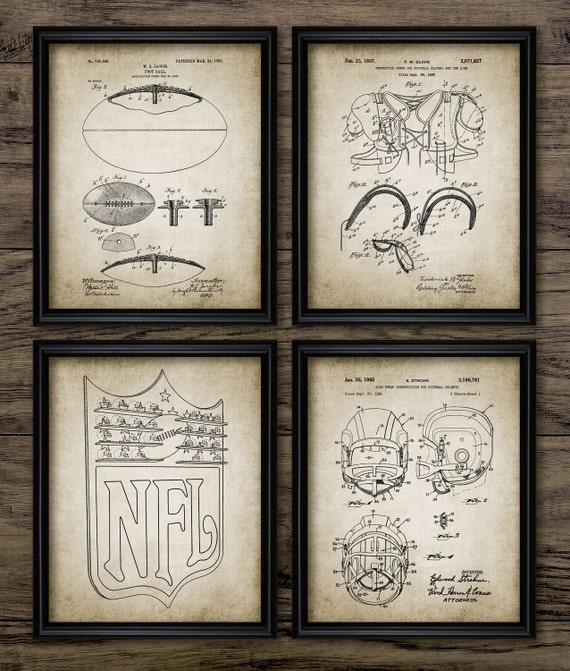 Vintage football patent print football blueprint wall art vintage football patent print football blueprint wall art gift home decor mancave wall art set of 4 prints 414 instant download malvernweather Image collections