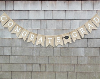 Graduation Burlap Banner, Class of 2017 Bunting, Congratulations Banner, Custom Graduation Banner, Graduation Decor, Class of 2017 Garland