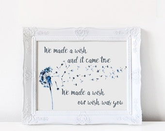Wall art, Art print, Dandelion wishes quote, Watercolor art print, nursery art, new baby, child's bedroom