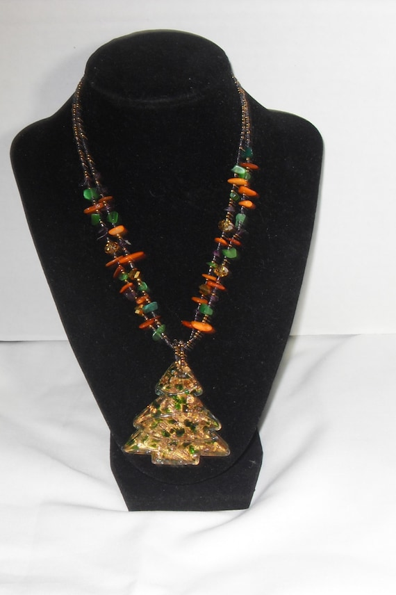 Lucite christmas tree necklace gemstone bead crystal