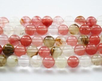 Quartz Bead, Cherry Quartz Beads, Round Quartz, Cherry Beads - 12mm - 32ct - D078