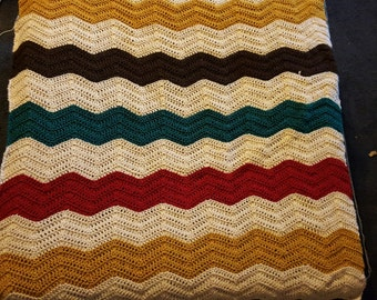 Crochet Chevron Oatmeal Tan Mustard Yellow Red Rust Teal Turquoise Brown sienna blanket throw afghan