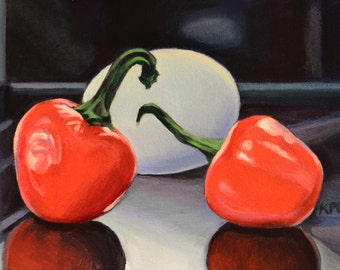 Hot Peppers and Egg.  Original Oil Painting.  6 x 8 inches.  Framed.