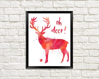 Oh Deer! Watercolour Digital Print