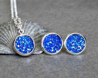 Blue Necklace Set, Blue Necklace, Blue Druzy Earrings, Blue Druzy Studs, Blue Stud Earring, Blue Post Earrings, Blue Earring, Blue Druzy Set