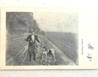 Vintage Paris Postcard Woman Hunting in Paris 1906