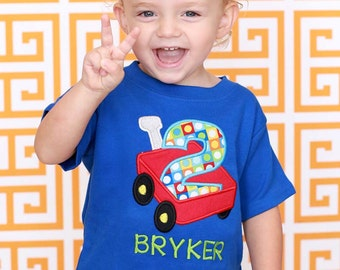 Boy Red Wagon Birthday Shirt with Number and Embroidered Name