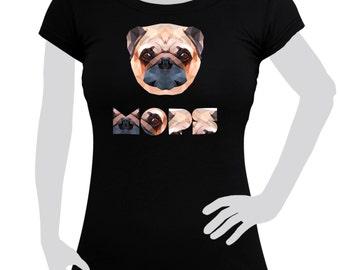 Ladies T-shirt printed with Pug