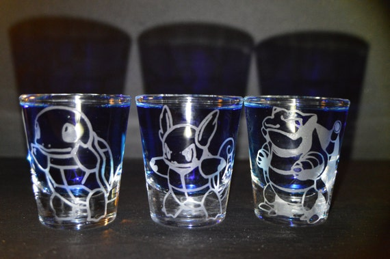 Squirtle, Warturtle, Blastoise engraved shot glass set of 3