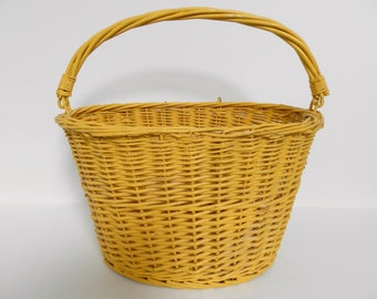 Vintage French Bicycle Basket. French Basket. Hand Made Willow Basket. Jeanne D'Arc Living. French Willow Carrying Basket. Cycling Basket.