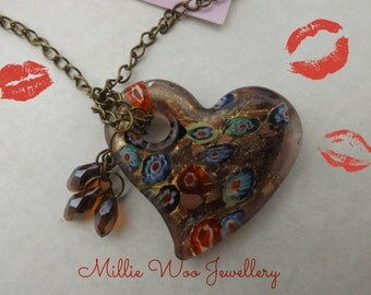 "32"" long Bronze Chain & Glass Focal Heart"