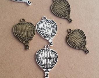 20pcs 17x25mm Antique Bronze balloon Charm , Antique Silver Hot Air Balloon Pendant ABBA01