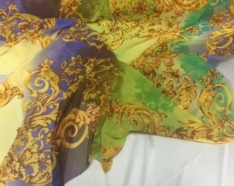 Green tie dyed gold flower chiffon fabric- super soft chiffon print- by the yard.