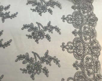 Gray jasmine flower design embroider and corded on a mesh lace- yard