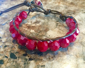 Red Leather Wrap Bracelet