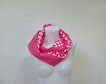 cheche, snood prints red geometric
