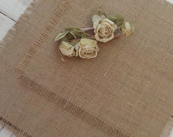 Burlap Wedding Squares - Table Toppers - Burlap Centerpieces - Wedding Table Decor - Rustic Topper - Set of 14 - Choose finish - 12' x 12""