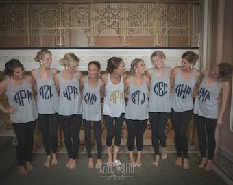 10 Bridesmaid Shirts, Monogrammed Bachelorette Party Shirts, Bridal Party Tank Tops, Bridesmaid Personalized Gift (mg001)