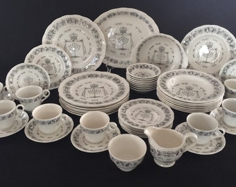 "Royal Cauldon 1920 ""Passover"" Seder Pesach Dinnerware Set Dishes Judaica"