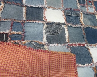 up-cycled denim quilt, faux chenille seams, gold/red/purple plaid backing