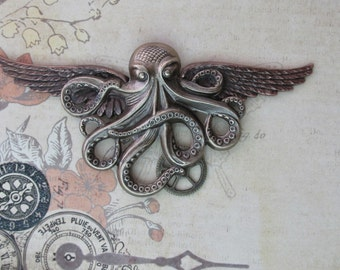 "Steampunk ""Krakken Hunter"" XLarge Octopus Wings in Brass"