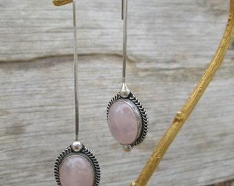 Long Pale Pink Rose Quartz Sterling Silver Dangle Earrings