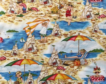 Monogrammed Mary Engelbreit fabric beach bag