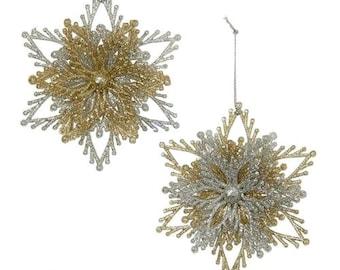 Acylic Gliter Moravian Star Ornaments, Gold/Silver, 4-Inch