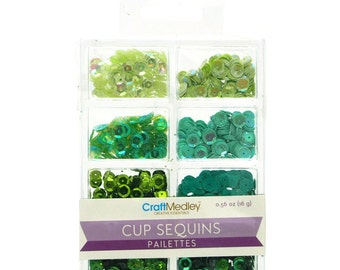 Loose Cup Sequins Pailettes, Green, 6mm, 16-gram