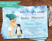 Winter baby boy shower invitation. Baby it's cold outside couple baby shower. Snowflak penguin. Digital printable invite. X102