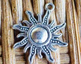 Sun Silver Charm for DIY Jewelry
