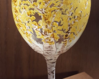 Hand-painted Wine Glass - Northwoods/Birch Tree