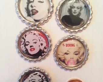 Marilyn Monroe- Marilyn Monroe Bottle cap Magnets- Bottle Cap Magnets- Magnets with Marilyn Monroe- Magnets- Gifts for Marilyn Fans