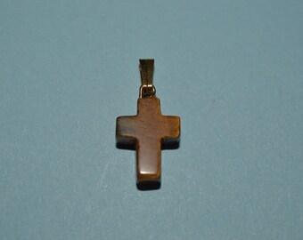 Vintage Mini Tiger Eye Cross Charm/Pendants - Lot of 10 (1060326A)